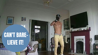 Couple horrified after watching topless burglar raid their home - Video