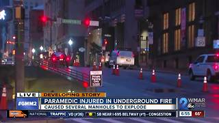Medic hurt after transformer fire causes manhole explosions