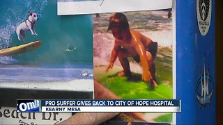 San Diego surfer using new found fame to help kids in hospitals