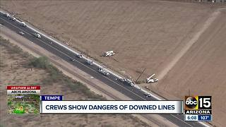 SRP crews show dangers of downed power lines - Video