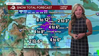 Snow expected across much of NE Colorado Monday into Tuesday