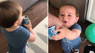 Cheeky Toddler Runs Off With Beer Can Before Bursting Into Tears Having To Give It Back