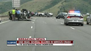 Woman killed, 7 injured after truck crashes into oncoming traffic on EB I-70 - Video