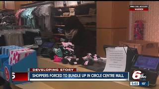 Customers, workers forced to bundle up inside Circle Centre Mall because of extreme cold - Video