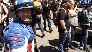 Liberal Shows Up Wearing Captain America Costume At #MarchAgainstSharia Event In Seattle - Video