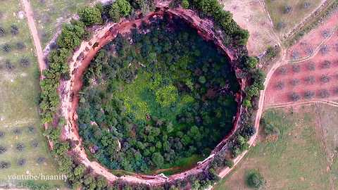 Drone footage reveals bizzare unearthly craters
