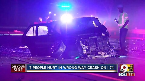 Seven people injured in wrong-way crash on I-74