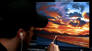 Acrylic Seascape Painting of a Stormy Ocean Sunset - Time Lapse - Artist Timothy Stanford