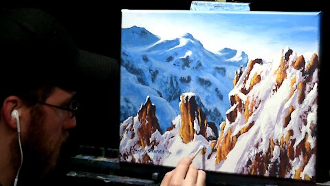 Acrylic Landscape Painting of Snow Covered Mountains - Time Lapse - Artist Timothy Stanford