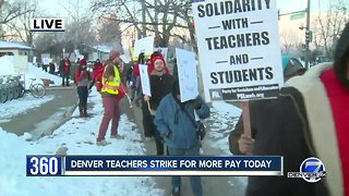 Denver teachers picket at South High School on first day of strike