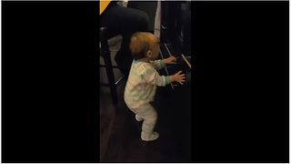 Baby Loves To Dance To Dad And Grandpa's Guitar Cover - Video