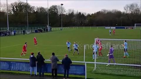 Atherstone Town player misses with header from two yards