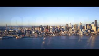 Drone footage of Seattle at sunset - Video