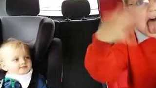 Brothers Dance to Upbeat Music in Mom's Car - Video