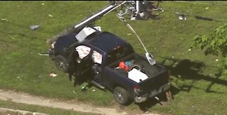 Sparks Fly...Pick-Up Truck Crashes Into Power Lines During Houston Police Pursuit