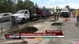 Crews working to repair holes on U.S. 19 - Video