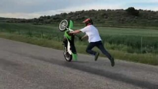 Insane motorbike stunt goes wrong