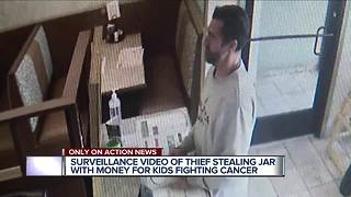 Thief who stole donation jar for kids fighting cancer caught on video - Video