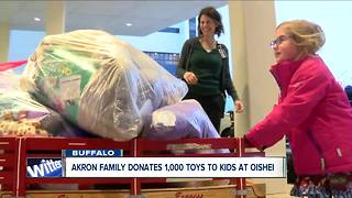 Akron family donates 1,000 toys to kids at Oishei - Video