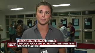 People flocking to hurricane shelters