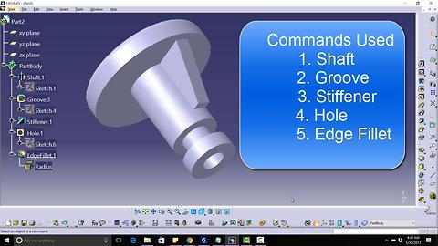 CATIA V5 Free Advance Course How to design a knob Tutorial||Commands|| Shaft, Groove, Stiffener