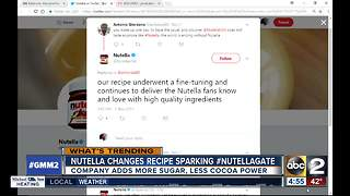 Nutella fans outraged at ingredients change