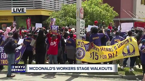 McDonald's workers stage walkouts in Detroit
