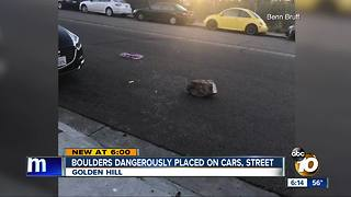 Golden Hill residents worried over large rocks being left in streets, on vehicles - Video