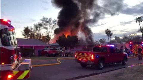 RAW: Large house fire burning in Tempe