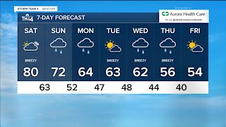 Mostly cloudy Saturday, highs around 80