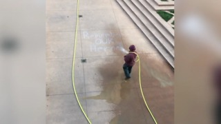 Cleveland State University blasted online after Sept 11 memorial chalk art is washed away - Video