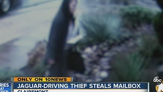 Caught on camera: Jaguar-driving thief steals mailbox