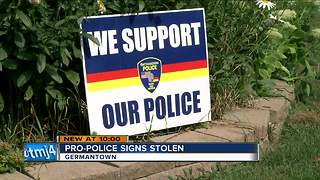 Germantown police support signs stolen around town - Video