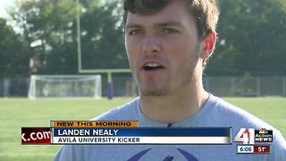 Each kick for Avila University's football team raises money for childhood cancer research - Video