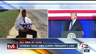 Indianapolis veteran kneels before Trump's motorcade - Video