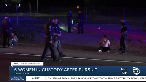 Six women in custody after a pursuit chase