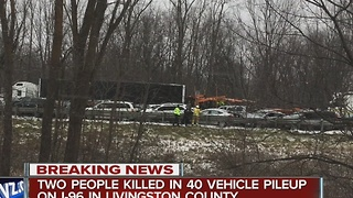 Two people killed after dozens of vehicles involved in crash on I-96 WB - Video