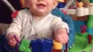 Hilarious expression of baby using Bouncy Toy  - Video