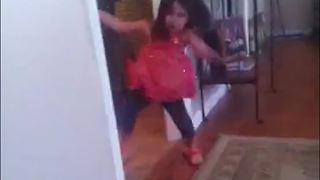 Girl Runs Into A Wall And Crashes To The Floor