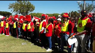 Protesters at Saftu march mock President Ramaphosa (LxL)
