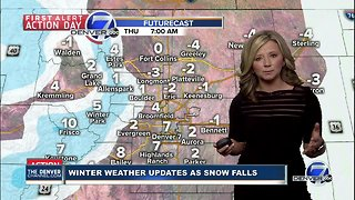 Noon weather and traffic update as snow falls in Colorado