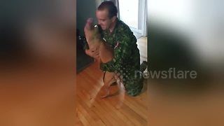 Pitbull welcomes home Canadian soldier after overseas deployment - Video