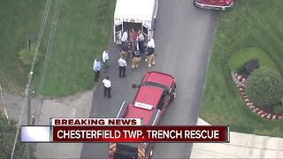 Chesterfield Township trench rescue continues - Video