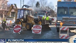 Plymouth water main break - Video