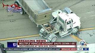 Dump truck crash hampers I-95 southbound in Lake Worth - Video