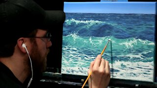 Acrylic Seascape Painting of Ocean Waves - Time-lapse - Artist Timothy Stanford