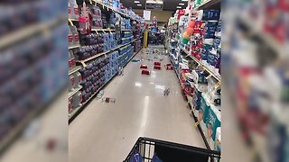 Items knocked off grocery shelves after earthquake