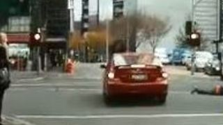 Pedestrian Goes Airborne After Colliding With Car in Melbourne's CBD - Video