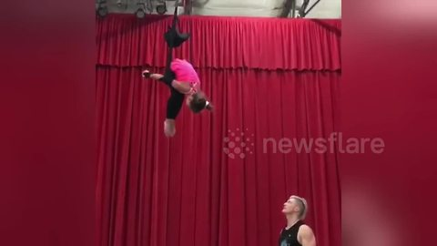 Little girl performs awesome acrobatic routine