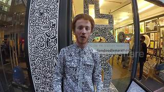 Mr Doodle begins 50 hour doodle challenge in Carnaby St, London - Video